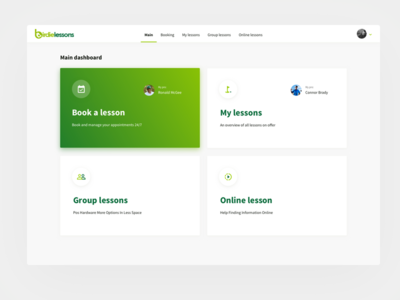 Birdielessons web ux user ui management interface design dashboard app