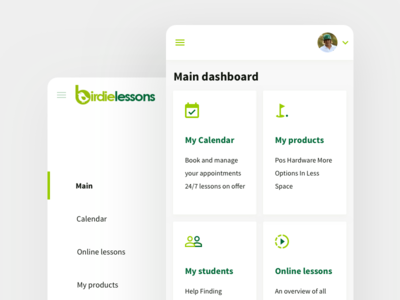 Mobile-Web GolfLessons dashboard design interface reports ui user ux mobile app