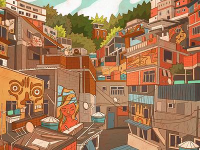 Favela brazil poster art illustration favela