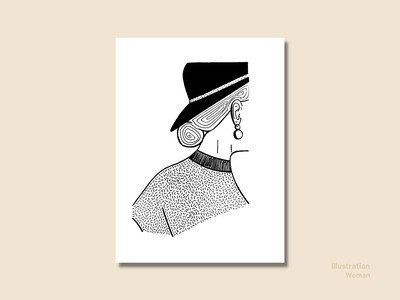 Illustration - Woman blackandwhite contrast hand drawn spring line art line drawing woman portrait woman illustration sketching inking illustration drawing ink drawing