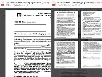 Full Screen & Thumbnail Views ui interface documents