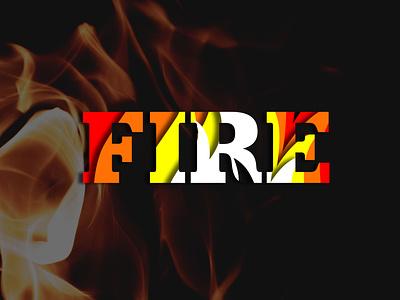 Fire illustration typography papercut design