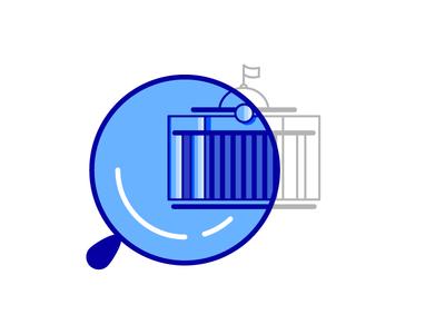 Logo for website RADA blue logo magnifier parliament ukraine building