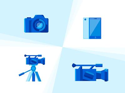 Video icons video camera photo camera phone blue icon