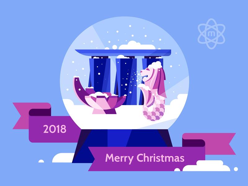 Merry Christmas 2018 logo color asia vector building design singapore city illustration