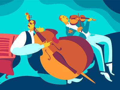 Ukrainian traditional music design media music double bass people flat character color ukraine illustration