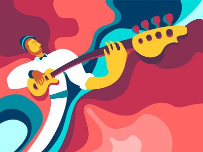 Ukrainian contemporary music music vector flat design guitar character people color ukraine illustration