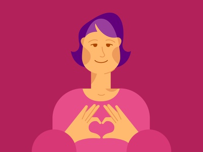 Heart portrait character icon face women vector people color illustration