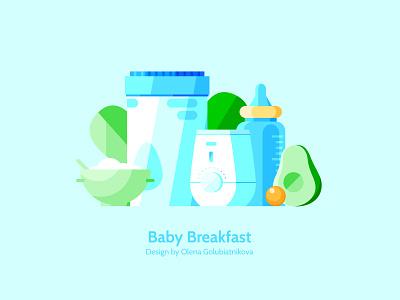 Baby Breakfast avocado food icon color illustration