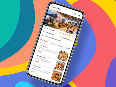 Demo Pizza - Ad Preview restaurant booking customization cards food ordering flow pizza app menu order confirmation order summary add to cart payment checkout pizza ordering
