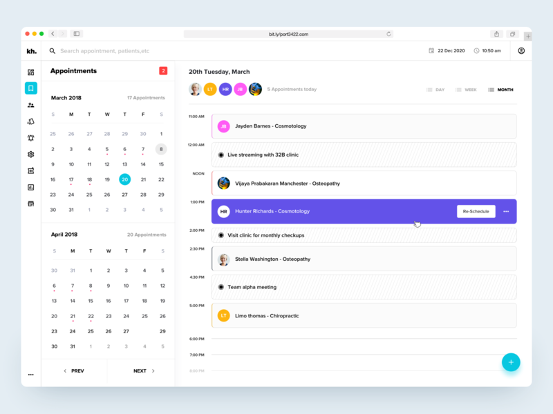 Clinical Dashboard - Manage Appointments medical history manage patients health app medical dashboard doctor app patients schedules hospital management clinical dashboard appointments