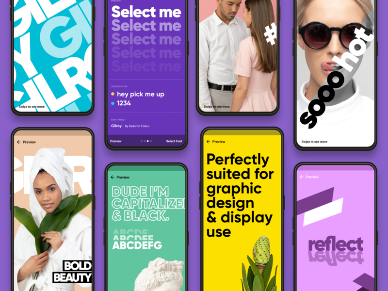 Font preview screens material android template posters colors graphic typography font design