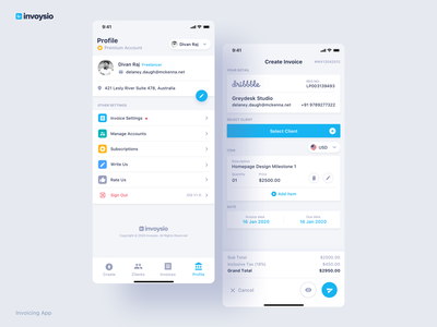 Invoysio - Invoicing App company edit premium preview client profile settings invoice