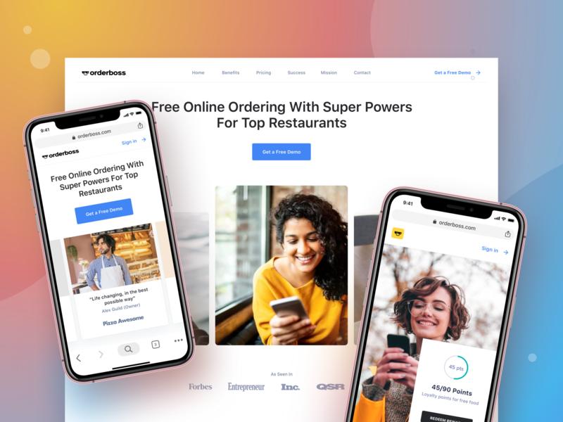 Orderboss landing page menu builder food ordering restaurant marketing restaurant testimonial header landing page orderboss