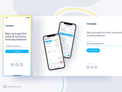 Invoysio - Prelaunch Site emailer mobile app invoicing subscribe signup invoysio