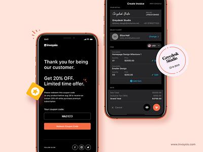 Invoysio dark mode subscription premium reports accounting dark mode redeem coupon code mobile app create invoice icon offer invoice invoicing app invoysio