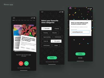 News App explore feeds tags email success confetti profile interest news