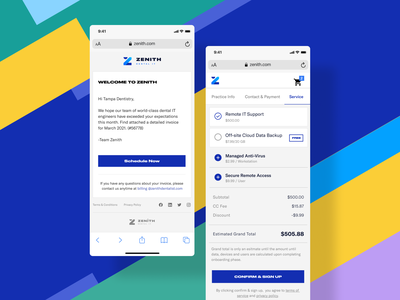 Zenith - Mobile Responsive Screens conversion onboarding signup addons emailer office suits management software payment purchase checkout mobile responsive website landing page