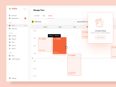 Timely - Weekly View hours management team project invoice reports schedule time tracker hour tracking timer calendar