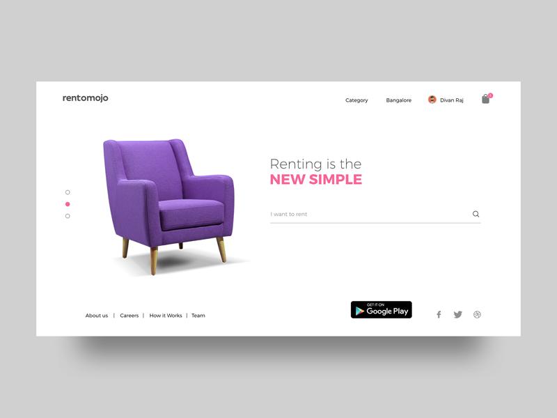 Rentomojo - Homepage Redesign landing page delhi mumbai app playstore chair rent rental appliances furniture bangalore rentomojo