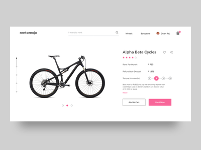 Rentomojo - Product Page Redesign bikes share review website mumbai delhi bangalore rentomojo rent product cycle checkout