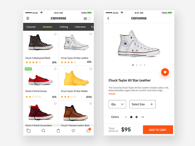Converse Product page with Add to cart - concept ux prototype sale purchase mobile app ios ui product page addtocart shoes converse