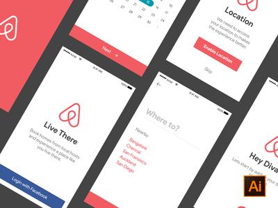 Freebie - Airbnb ui kit  location date selection ai illustrator booking onboarding freebie psddd ios kit ui airbnb