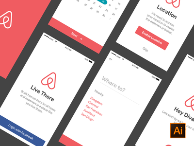 Freebie - Airbnb ui kit  location date selection ai illustrator booking onboarding freebie psddd ios kit ui airbnb