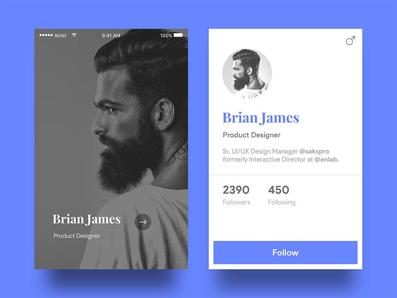 Designer Profile card  android description followers follow mobile ui app ios dashboard card designer profile
