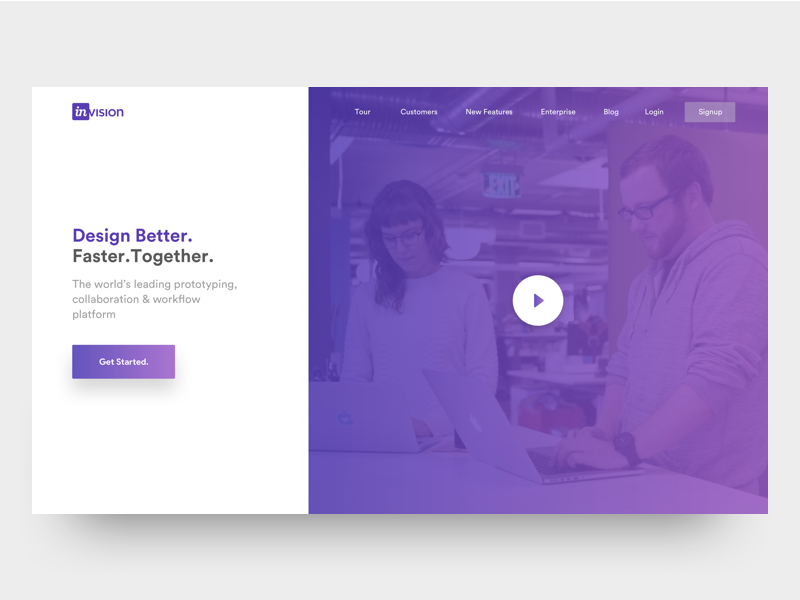 Invision theme redesign - landing page & mobile web banner blog web signup login video prototype ui landing page redesign theme invision