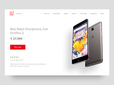 One plus 3T landing page - minimal web android never settle theme buy now minimal banner landing page mobile phone oneplus3t
