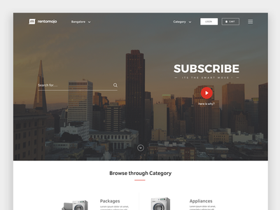 Rentomojo Website Redesign - Don't just own, Smartly Own sketch ui website packages bikes appliances rental furniture subscribe redesign landing page rentomojo