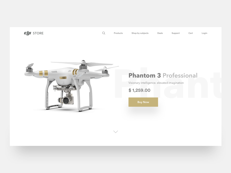 Dji Drone Phantom 3  - Landing page website hd photo camera clean ui add to cart product page landing page minimal drone dji