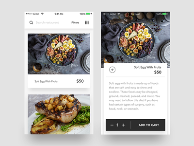 Recipe iOS Application list view toggle grid view filters search add to cart card minimal recipe ios app food