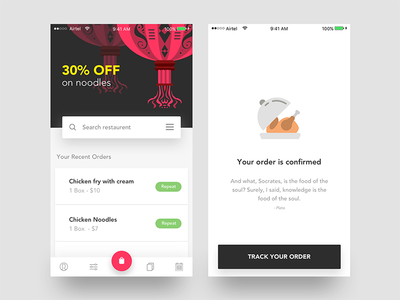 Food App - Offer & Track order icon recipe profile filter ios order confirmed food app search offer card track app