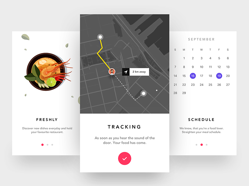 Onboarding Screen - Food ordering app calendar phone results map tracking scheduling food ordering app mobile app ios restaurant food onboarding