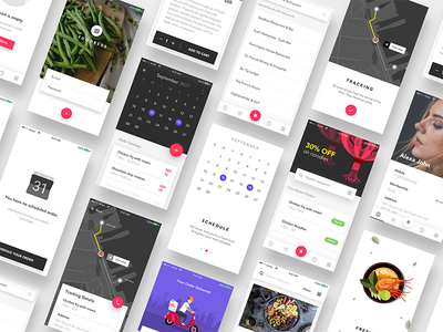 Food ordering app ui kit bundle cards search onboarding empty cart tracking filters add to cart landing page calendar profile food