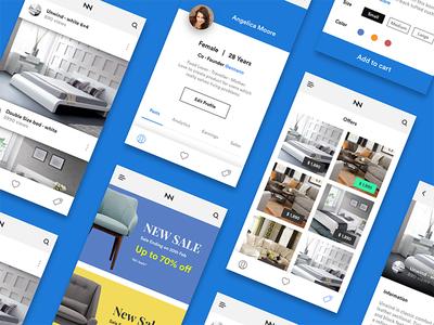 Online furniture shopping - App UI Kit iOS rentals ui kit online ui offers news feed addtocart sale profile app ios furniture