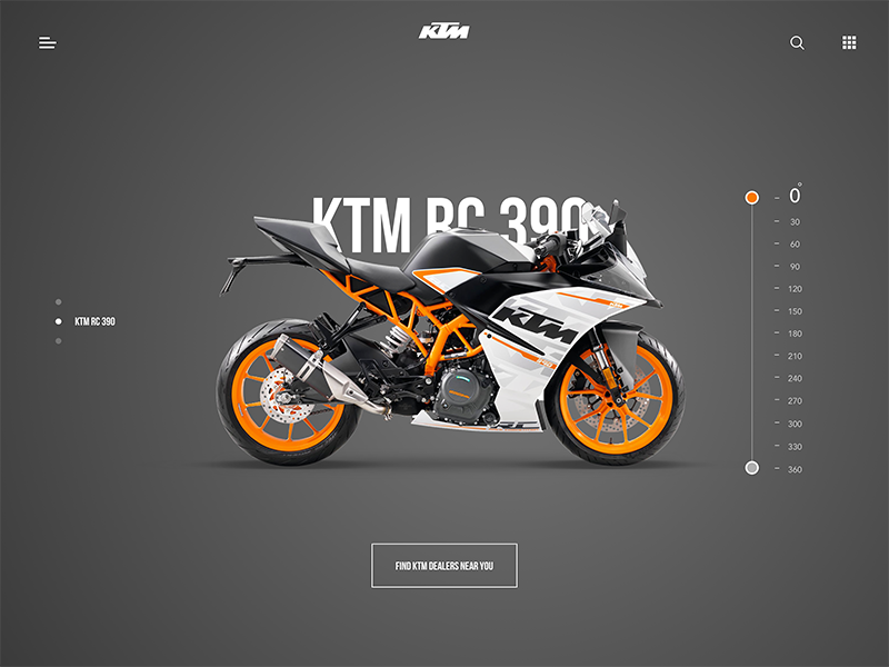 KTM RC 390 - Landing page slider dark ui website landing page product sport motorcycle bike ktm rc 390 duke ktm