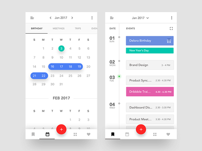 Event Calendar iOS App #1 choose color search add location invite peoples edit add note birthday ui kit ios app create event calendar