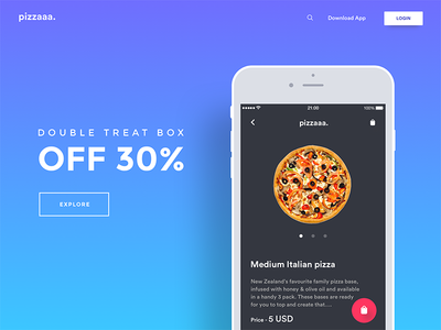 Pizza landing page add to cart gradient ui mobile website mockup offer tracking landing page delivery food pizza