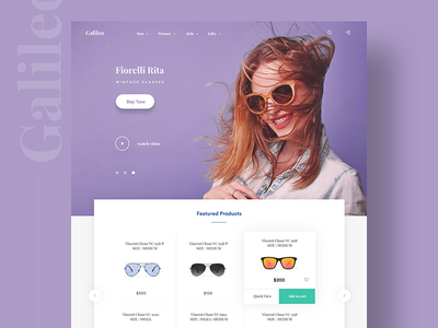 Galileo product Landing page - sketch  chat notification app sale sketch marketing product website ui sunglasses landing page