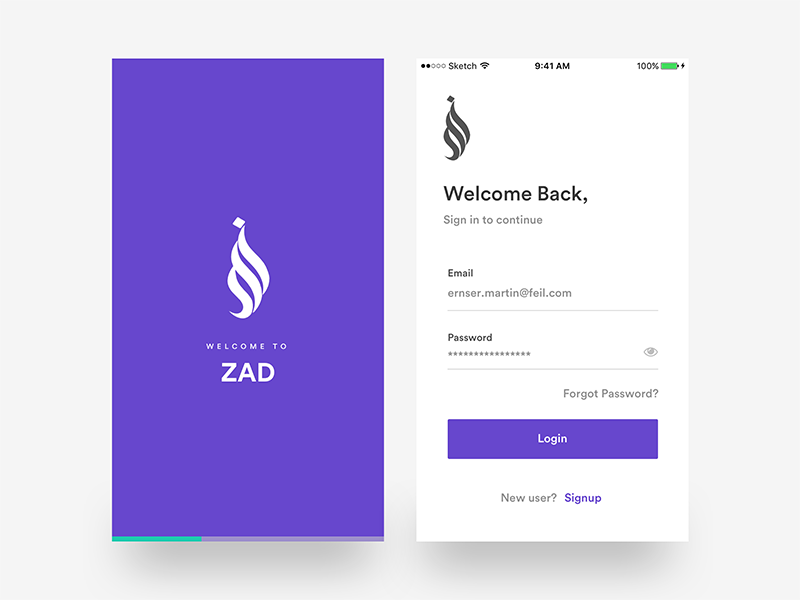 Login splash screen zad app ios by divan raj dribbble for Ios splash screen template psd