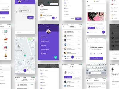 Complete iOS screens for charity app chat splash screen login side menu list view map profile ui bundle delivery ui kit groceries food app post