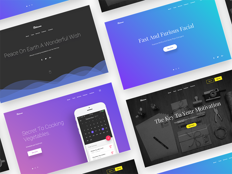 Download Free header/hero backgrounds slides – Sketch