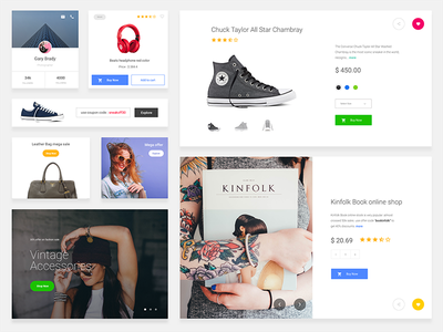 E-commerce free sketch ui kit - Download Now download ui design profile minimal webdesign product page add to cart cards e-commence ui kit freebie sketch