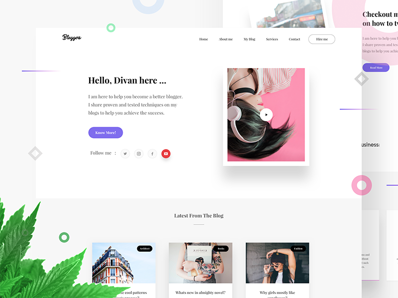 Bloggers Wordpress landing page - Free Theme 📝 follow testimonial minimal bloggers cards presentation leaf typography blog webdesign landing page wordpress