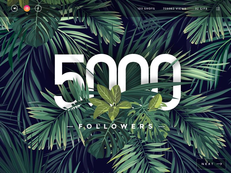 5K Followers 5k 5000 button menu social ui illustration leaves tropical shot dribbble followers
