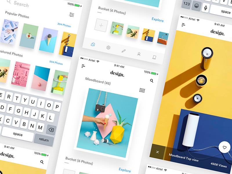 Interactive Photo viewer creative photo viewer cards search views likes wishlist ios colors moodshot moodboard photo