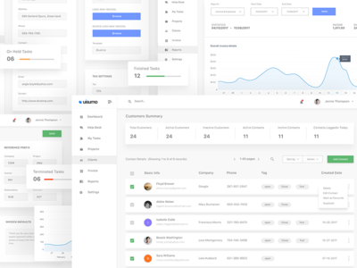 Admin - Dashboard webdesign uisumo report settings project help desk task management invoice tickets clients admin dashboard